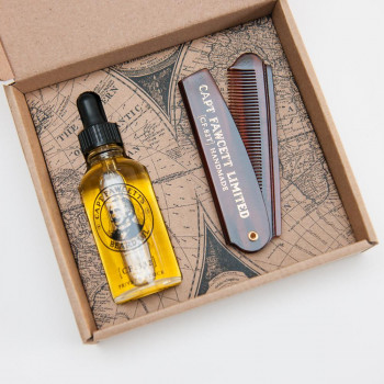 "Набор Captain Fawcett ""Beard Oil & Folding Pocket Beard Comb"""