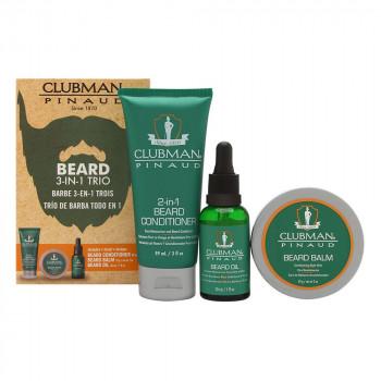 Clubman Beard 3-in-1Trio Подарочный набор: крем-кондиционер, воск-бальзам, масло