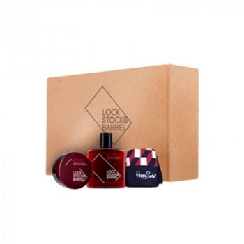 Подарочный набор Lock Stock & Barrel Шампунь Recharge + Глина 85 Karats + Носки Happy Stock