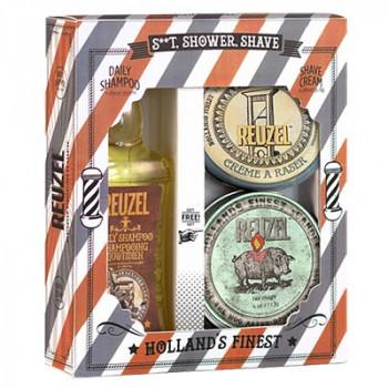 Набор Шампунь + Крем для бритья + Свеча Reuzel Holiday S..t, Shower, Shave